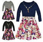 Girls Long Sleeved Vibrant Floral Dress New Kids Party Dresses Ages 2-10 Years