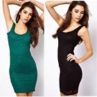 New Sexy Womens Backless Floral Lace Cocktail Party Club Bodycon Tank Mini Dress