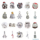 Christmas Tree Snowflake Reindeer Snowman Bells  Authentic Silver Charms