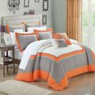 Ballroom Orange, Grey & White 7 Piece Embroidery Comforter Bed In A Bag Set