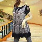 BLACK/WHITE LACE LAYER A-LINE DRESS/TUNIC TOP #1900 SIZE S/M