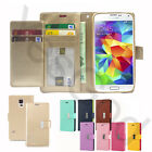 Double Card Slot Pocket Dual Wallet Leather Book Case Cover For iPhone Galaxy LG