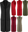 New Plus Size Womens Sleeveless Faux Pocket Jacket Top Cardigan Ladies Waistcoat