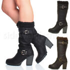 WOMENS LADIES HIGH CHUNKY HEEL KNITTED COLLAR CASUAL CALF BIKER BOOTS SIZE