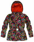 Girls Vibrant Floral Puffa Coat New Kids Warm Hooded Winter Jacket Age 2-7 Years