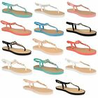 Womens Ladies Toe Post Jelly Slingback Sandals Girls Summer Beach Flat Shoes
