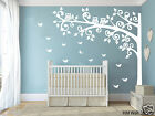 220cm Height Nursery Cot side tree with Owls & Butterflies removable wall decals