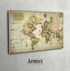Vintage World wall Map Antique Archival Fine Art print on Museum class paper.