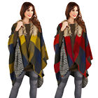 Womens Check Reversible Blanket Cape Boutique Ladies 2 In 1 Poncho Jacket Wrap