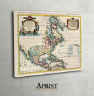 Historical map of North America Museum Quality, canvas wall art decor