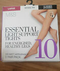 NEW BOXED 2 PAIRS LADIES LIGHT SUPPORT MATT TIGHTS MARKS & SPENCER NATURAL TAN