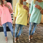 Fashion Womens 3/4 Sleeve Long Tops Blouse Shirt Beach BOHO Mini Dress UK 6-16