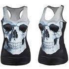 Popular Women Summer Skull Print Singlet Vest Tank Tops Punk Rock T-Shirt  JR UK