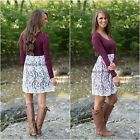 Womens Long Sleeve Lace Floral Crew Neck Dress Party Evening Bodycon Shirt Dress
