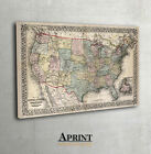 Vintage Wall map of United States of America, USA map, Vintage USA map, Mitchell