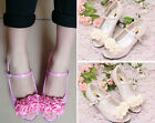 Royal Floral Girls Birthday Party Shoes Wedding Rose Sandal Heels Kids New Gifts