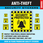 'Security Protected' Anti-Theft / Thieves Shop Lifters Stickers Sticky  Labels