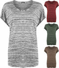 New Womens Round Neck High Low Dip Hem Cap Sleeve Baggy T-Shirt Ladies Top 8-14