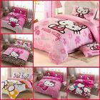 """New girls """"Hello Kitty"""" Coral fleece single/Double/Queen/king Quilt cover set"""
