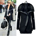 Winter Women Warm Cotton Coat Black Long Slim Long Jacket Fur Collar Outwear New