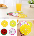 Round Fruit shape Colorful Coaster Silicone Heat Resist Cup Pads Mat Tableware