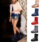 HIGA Women Girl Winter Snow Snowy Warm Mid-tude Medium Sequins Bling Shoes Boots