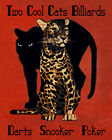 "Cool Cats Billiards Poker Darts Pool Leopard  16"" X 20"" Vintage Poster FREE S/H"