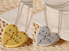 Chic HO Best Bitches Best Friend Forever 2Piece AU Break Heart Pendant Necklace