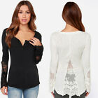 Womens T Shirt Lace Patchwork Blouse Tops Long Sleeve Backless Pullover AU25