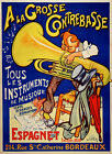 Grosse Contrebasse Tuba Classical Music Player Vintage Poster Repro FREE S/H