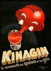 Kinagin Vermouth Quina Gin Drink Frence France Vintage Poster Repro FREE S/H