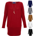 Women's Animal Necklace Baggy Long Sleeve Studded Shoulder Batwing Top