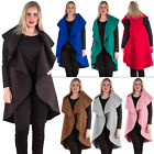 New Womens Sleeveless Waterfall Cape Long Coat Ladies Open Draped Trench Jacket