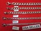 """3/4/5/6/7/9/10/12mm  Men Women Stainless Steel Silver Curb Link Necklace 7-44"""""""