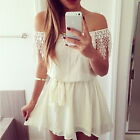 Lady Evening Dresses Sexy Women Mini Dress Boat Neck Lace Casual Party Cocktail