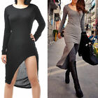 Sexy Evening Dresses Women Asymmetric Long Sleeve Slim Maxi Long Split HOT Lady