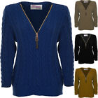 Women's Long Sleeve Cable Knit Chucky V Neck Zip Warm Winter Jumper