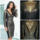 NEW NEXT GOLD LACE DRESS BLACK PENCIL BODYCON WIGGLE PARTY XMAS SIZE 6 - 18