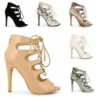 LADIES WOMENS HIGH HEEL STILETTOS LACE UP GLADIATOR ANKLE SANDALS PEEP TOE SHOES