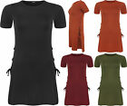 Womens Tied Lace Up Open Plain Side Slit Short Sleeve T-Shirt Ladies Top 8-14