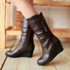 Fashion Women Casual Mid-Calf Synthetic Leather Shoes Ladies Block Zip New Boots