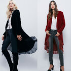 Spring Fall Velvet Womens Lounge Top Outwear Flowy Cardigan Jacket Coat Cover Up