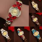 Women fashion Crystal Rhinestone Butterfly gift Bracelet Quartz Watch Wristwatch