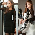 Women Mesh Sleeve Floral Lace Hip-wrapped Ladies Mini Dresses Bodycon Dress New