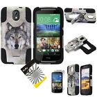 HTC Desire 526 Dual Layer T-Stand Impact Armor Hybrid Rubber Cover Case + Film