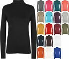 New Ladies Polo Neck Stretch Long Sleeve Womens Plain Top Jumper 8 / 10 12 / 14