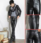 New Men's Slim Fit PU Leather Trousers Fashion Winter Casual Straight Leg Pants