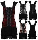 New Ladies Sleeveless Floral Laced Front Corset Frillled Skirt Women's Dress