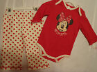 DISNEY Baby Girls 3-6 Month Minnie Mouse Bodysuit Polka Dot Pant Outfit NWT
