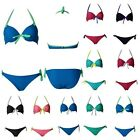 Colorful Bowknot Shoulder Straps Side Tie Push Up Bikini Swimsuit Beachwear